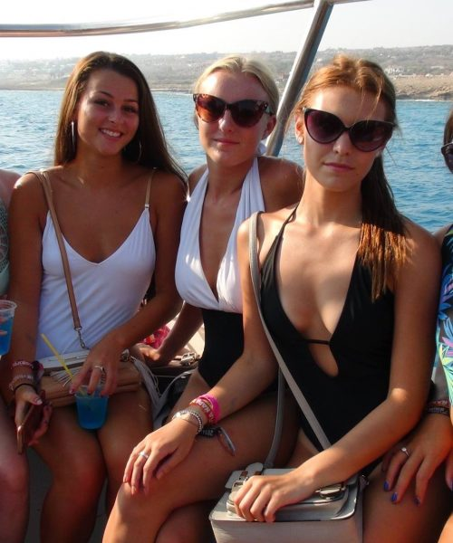 group girls on the boat