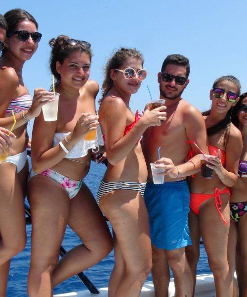 friends on the boat Ayia Napa