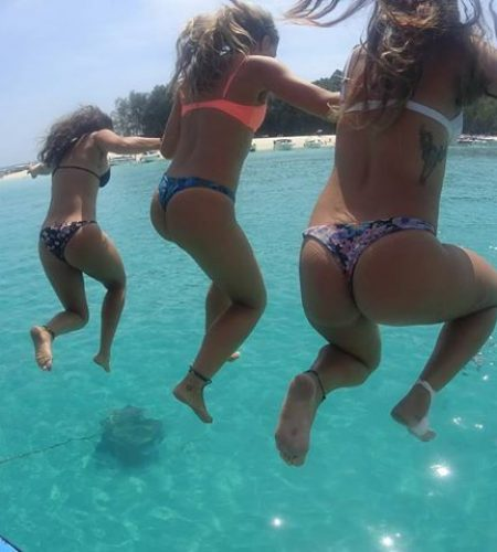 Girls Jumping from phi phi boat party
